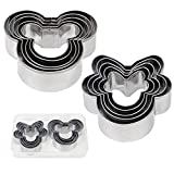 BakingWorld Mickey Mouse Cookie Cutter Set,Mickey & Minnie Mouse Head Shapes Stainless Steel Biscuit Cutter Cake Fondant Pancake Mold for Kids Birthday Party Supplies Favors(10 Pcs)