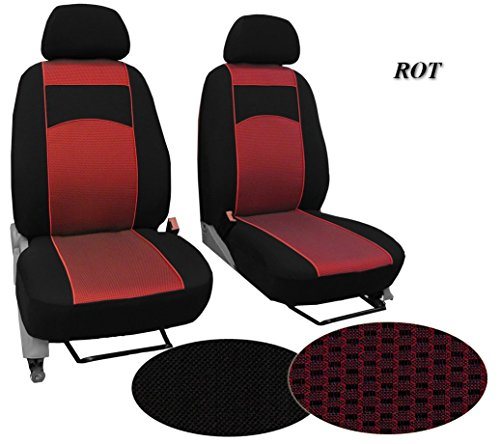 POK-TER-TUNING Sitzbezüge Stoffart VIP - Passend für Ford TOURNEO Custom - Set Bus Bezüge 1+1 - in Diesem Angebot Rot (Muster im Foto - in 3 Farben Bei Anderen Angeboten erhältlich).