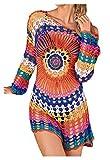 Wander Ago Beach Tops Sexy Knit Cover Dresses Bikini Cover-ups Nets Sun Flower Colorful