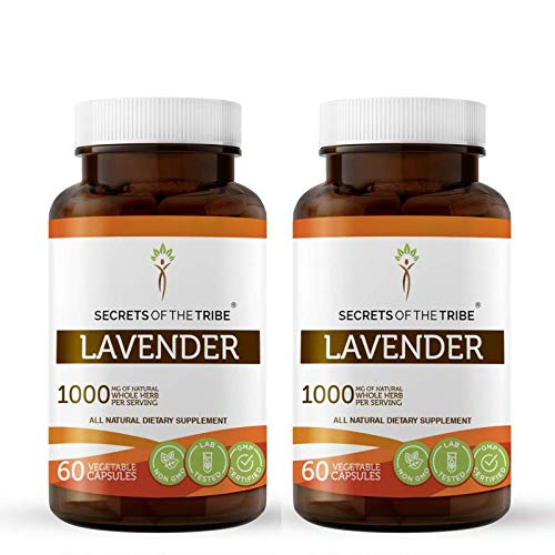 Lavender 60 Capsules(2 pcs.), 1000 mg, Organic Lavender (Lavandin, Lavandula X Intermedia) Dried Flowers (2x60 Capsules)
