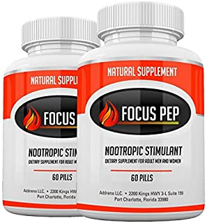 Addrena Focus Pep 2 Pack- Over The Counter Stimulants to Speed Up Naturally: Study Alternative and Best Energy Supplements...