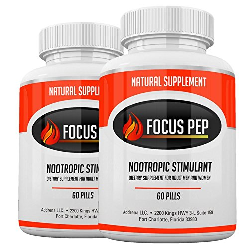 Addrena Focus Pep 2 Pack- Over The Counter Stimulants to Speed Up Naturally: Study Alternative and Best Energy Supplements for Nootropic Brain Boosting, 1207 mg, 120 Pills
