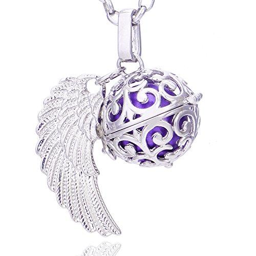 Morella Damen Schutzengel Halskette Edelstahl 70 cm mit Anhänger Engelsflügel und Klangkugel lila Ø 16 mm in Schmuckbeutel