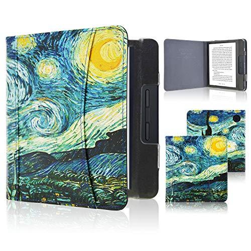 ACcolor Folio Hülle für Kobo Libra H2O 2019 Released - PU Leder Schutzhülle Tasche mit Auto Sleep/Wake Funktion für Kobo Libra H20 eReader, Starry Night
