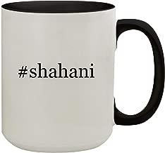 #shahani - 15oz Hashtag Colored Inner & Handle Ceramic Coffee Mug, Black
