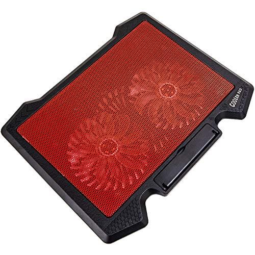 Cuasting Enfriador para portátil con 2 puertos USB y dos ventiladores de refrigeración LED para portátil de 12 a 17 pulgadas, color rojo