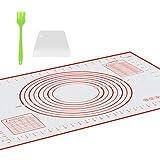Tappetino da Forno in Silicone (60*40cm), con Un Pennelli da Cucina e Raschietto spatola di plastica, Grande Stuoia di Rolling della Pasticceria del Silicone Riutilizzabile Antiaderente,(Rosso)