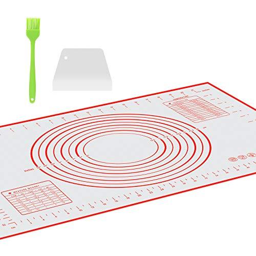Tappetino da Forno in Silicone, con Un Pennelli da Cucina e Raschietto spatola di plastica, Grande Stuoia di Rolling della Pasticceria del Silicone Riutilizzabile Antiaderente, 60 * 40cm(Rosso)