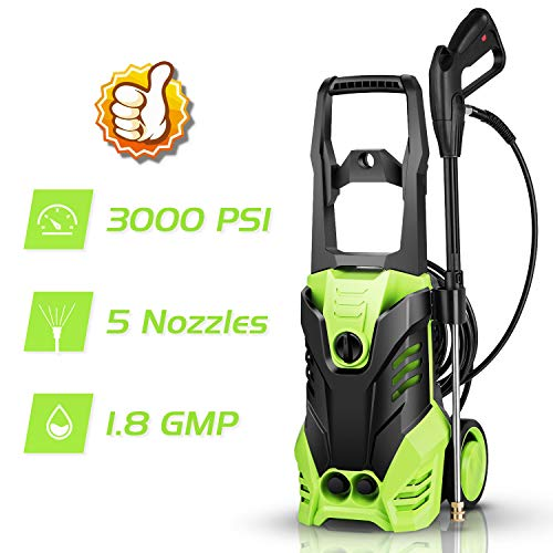 Best Buy! Homdox 3000 PSI Pressure Washer Electric 1800W High Pressure Power Washer Machine with Power Hose Gun Turbo Wand 5 Interchangeable Nozzles