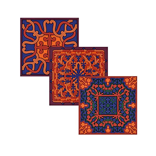 Images d´Orient 6 Glasuntersetzer Untersetzer aus PVC hitzebeständig, waschbar orientalisch blau orange 9 x 9cm