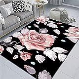 alfombras Grandes Alfombra Rosa, Alfombra Transpirable, antiestática, antiácaros y Antipolvo alfombras para Dormitorio -Rosado_Los 80x160cm