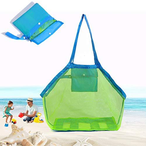 Große Netz Strandspielzeug Tasche, Strand Einkaufstasche, Sandspielzeug Netztasche Strandtasche Wiederverwendbare Faltbare, Aufbewahrungstasche für Familie Wasserspielzeug Urlaub Spielzeug Sommer