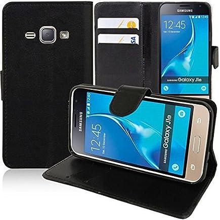 COPHONE® Etui Coque Housse de Protection Noir en Cuir pour Samsung Galaxy J1 2016 J120. Etui porteufeuille Noir Haute qualité pour Samsung J1 2016 J120.