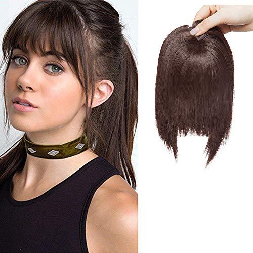 SEGO Frangia Finta Folta Capelli Finti per Frangetta Extension Clip Top Testa 40g Hair Bang Fringe Posticci Toupet Donna - Marrone Medio
