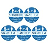 Social Distancing Floor Marking Circles 5 Sheets, 12 Inch Prevention Decals Decor Safety Sign Self-Adhesive Round Distance Warning Sign - Stand Here Blue Style