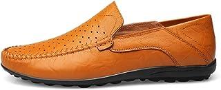 [MUMUWU] ビジネスシューズ 革 柔軟 クラシック シンプル 男性靴 軽量 通気 モカシン ビジネスシューズ (Color : Hollow Yellow, サイズ : 25 CM)