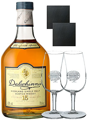 Dalwhinnie 15 Jahre Whisky 0,7 Liter + 2 Classic Malt Whiskygläser + 2 Schieferuntersetzer