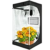 VT 60x60x120CM Mylar Grow Tent, Reflective Mylar Hydroponic Grow Tent with Observation Window and Floor Tray for Indoor Gardening Plant Germination