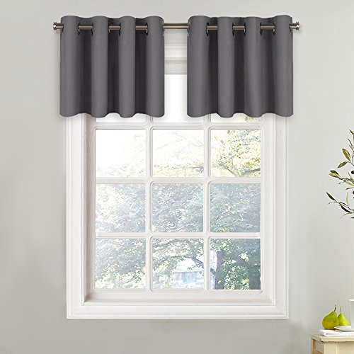 NICETOWN Blackout Window Valance for Kitchen - Thermal Insulated Blackout Grommet-Top Tier Curtain for Cafe Store (1 Panel, 52W by 18L + 1.2 inches Header, Grey)