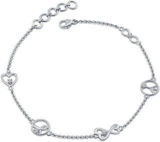 La Joya 0.10ct (IJ I2-I3) Round White Diamond Sterling Silver Love Heart Peace Hope Infinity Diamond Link Charm Bracelet For Womens Teens gift for valentines day
