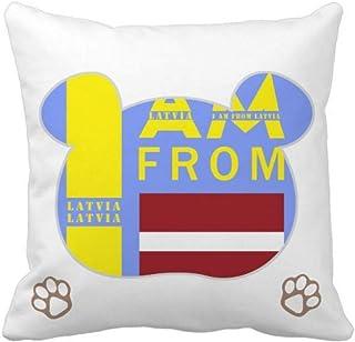 OFFbb-USA I Am from Letonia Bear - Funda de almohada cuadrada