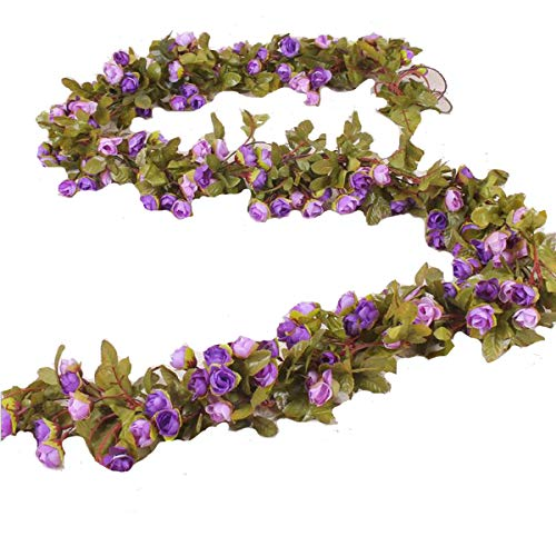 Solaso Artificial Rose Vine Silk Flower Garland Hanging Fake Roses Flowers Plants for Home Garden Office Hotel Wedding Party Decor (Purple)