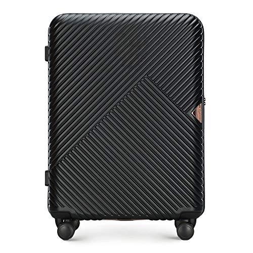 Mittlerer Koffer Material Polycarbonat von Wittchen 8 Lenkrollen Zahlenschloss Hartschalen Gewicht 3.4KG Farbe Schwarz