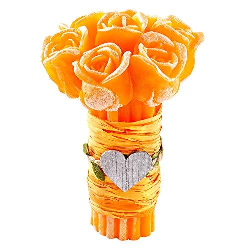 Groß Rosenstrauß Rosen Duftkerze ♥ HANDMADE ♥ Scented Candle with Essential Oils Geschenk Wichtelgeschenk für frauen Rosenbox Dekoration Wohnzimer Muttertagsgeschenk Rose Decko Orange Aroma