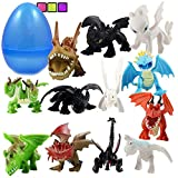 Totem World 12 How to Train Your Dragons Figures with Jumbo Egg Storage, 1.5-2.5' Tall Mini Figure Toys for Kids Deluxe Cupcake Cake Toppers Party Favor Decoration