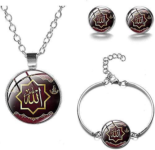 Aluyouqi Co.,ltd Conjuntos de Joyas de Alá Musulmanes islámicos, Pendientes, Pulsera, Collar, Regalo de cumpleaños para Mujeres y Hombres, joyería