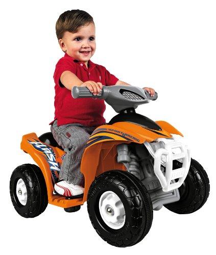 FEBER - elektrische motorfiets Quad Flash speelgoed, voor kinderen van 18 maanden tot 3 jaar, 6V, oranje (Famosa 800007386)