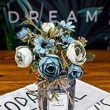 Mrjg Kunstblumen Herbst gefälschte Tee Rose Seidenblume Herbst Gerbera Daisy künstliche Plastikblume for Hochzeit Wohnaccessoires Dekoration Raumdekor Grünpflanzen (Color : Blue)