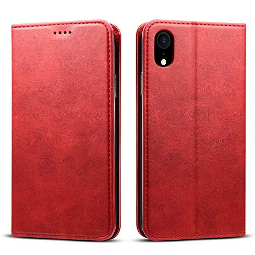 iPhoneX ケース 手帳型 横置きスタンド機能 カードホルダー 財布型 手作り 保護カバー アイフォンX ケース 耐衝撃 軽量 全面保護 手帳型ケース レッド