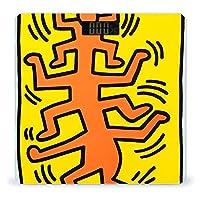 体重計 ヘルスメーター ボディスケール バックライト付 強化ガラス 電源自動オン キース ヘリング (10) 高精度 薄型 収納便利 健康管理 巻き尺付き 体組成計 電池式