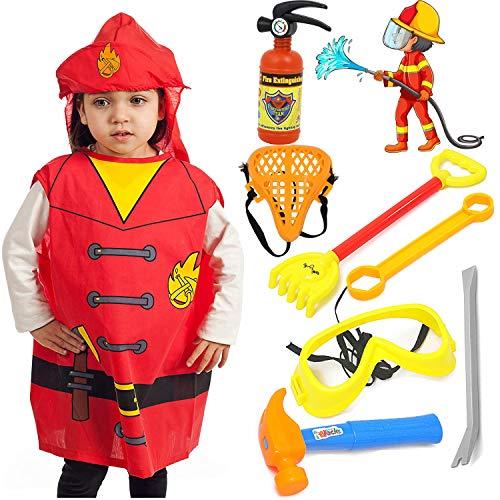 Harxin Disfraz de Bombero para Niños, Accesorios para Bomberos, Juego de Disfraz de Juego de rol de Bombero 3-6 Años Niños y Niñas (Juguetes de Bombero)