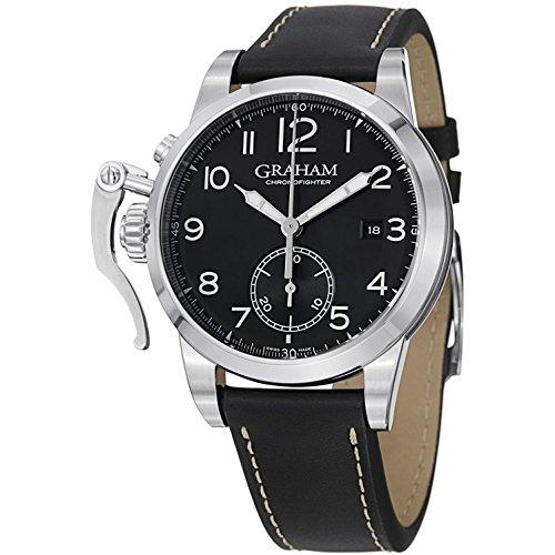 Graham de los Hombres automático Suizo Reloj Vestido de Cuero y Acero Inoxidable, Color: Negro (Modelo: 2cxas. B01A)