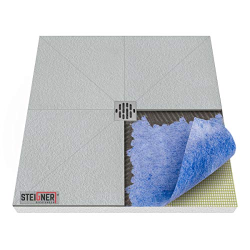 STEIGNER Duschelement inkl. DICHTFOLIE Duschboard befliesbar Punktablauf, 90x90 cm, EPS Bodenelement, Ablauf WAAGERECHT