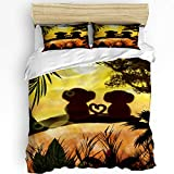 Alandar Home Romantic Monkey Lover Under The Sunset Bedding Sets Duvet Cover 3 Pieces, Ultra Soft Bed Comforter Cover with 2 Pillowcases for Kids/Teens/Women/Men Bedroom Decoration Jungle Forest Love