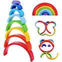 8-Pieces Wooden Rainbow Montessori Learning Large Stacking Blocks