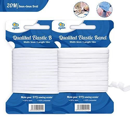 Agoer Breites Gummiband Rund 3mm + 6mm, 20M Elastische Gummilitze Gummiband Weiß, Gummikordel Elastikkordel zum Nähen und Haushalt DIY Handwerk
