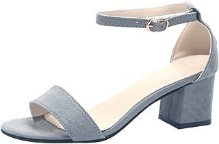 Sunenjoy Chaussures Sandales Femmes Talons Carré Haut Talon de 5cm pour Mariage Soirée Fête Plage Sandales Boucle Cheville...
