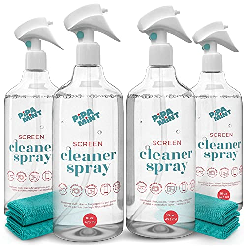 Screen Cleaner Spray (4 Pack X 16oz) Large Bottle Screen Cleaner for TV Screen, Computer Screen, Laptop, Phone, Tablet, Smart Watch - Microfiber Cloth Included