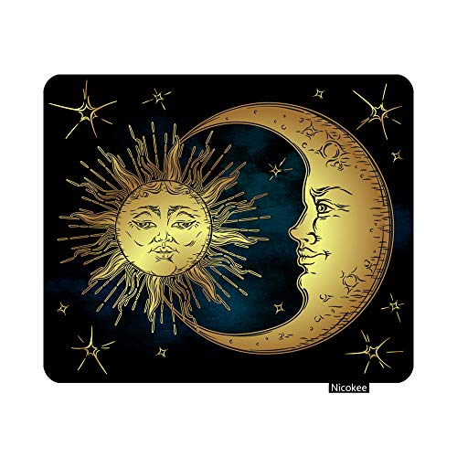 Nicokee Gaming Mouse Pad Astrology Antique Golden Sun Crescent Moon and Stars Over Blue Black Sky Boho Chic Tattoo Astronomy Non-Slip Rubber Mouse Pad for Computers Office 9.5 Inch x 7.9 Inch