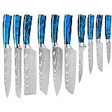 10 unids Cuchillos de cocina Set Professional Chef Cuchillos Japonés Alto Carbono Acero inoxidable Imitación Damasco Patrón Juego de cuchillos Herramienta (Color : 10 pcs Set)