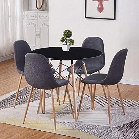 GOLDFAN Table de Salle à Manger avec 4 Chaises Bois Ronde Table avec 4 Chaises en Tissu Scandinave pour Cuisine Salon Salle à Manger etc ,Noir et Gris