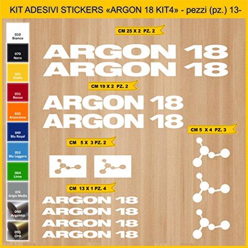 Adesivi Bici Argon 18_Kit 4_ Kit Adesivi Stickers 13 Pezzi -Scegli SUBITO Colore- Bike Cycle pegatina cod.0839 (010 Bianco)