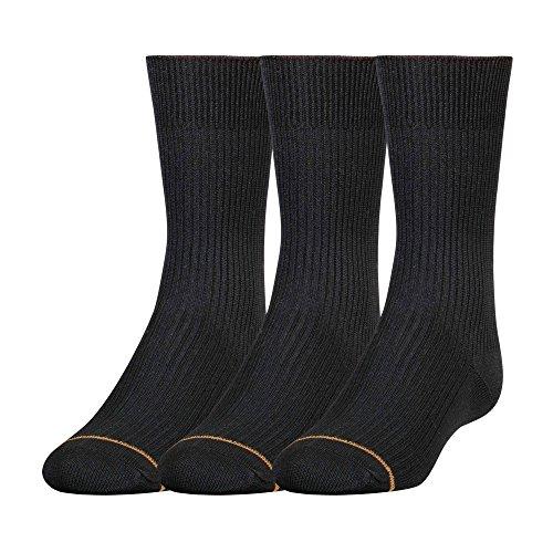 Gold Toe Big Boys'3 Pack Microfiber Dress Crew Sock, Black, Medium