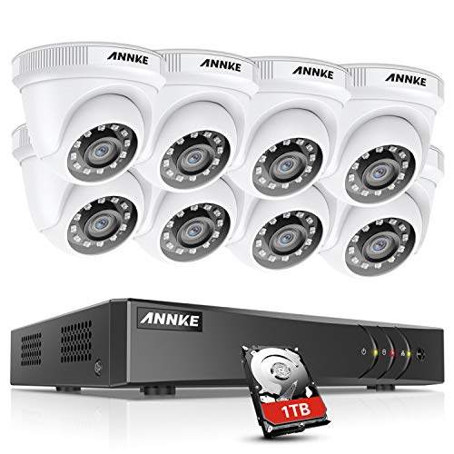 ANNKE CCTV Camera Systems 8 Channel 5MP Lite H.265+ DVR with 1 TB HDD and (8) HD 1920TVL 1080p CCTV Dome Cameras, Instant Email and App Alerts with Snapshots – E200