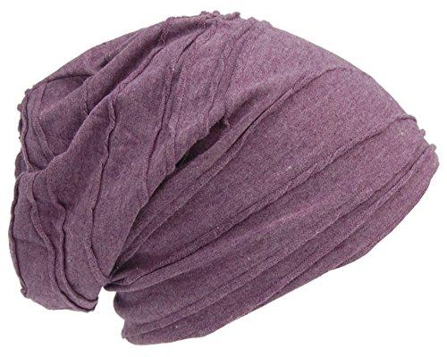Cool4 Vintage vouwstructuur beanie Aubergine lila Slouch retro stijlvolle muts cap hoed VSB15