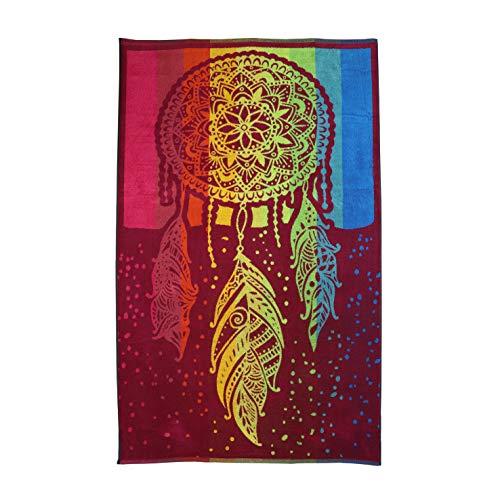 Dhestia Home DHestia, telo da spiaggia grande, in cotone, 100 x 170 cm, motivo acchiappasogni, multicolore, 100 x 170 cm